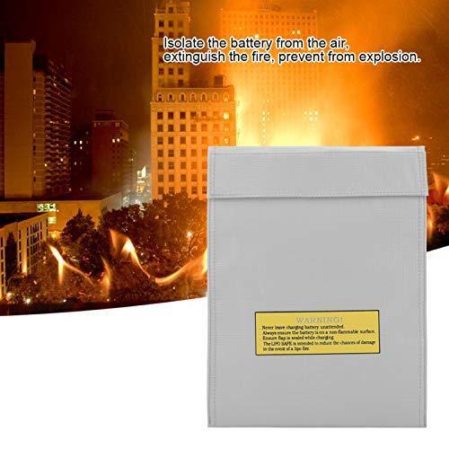 Bolsas para Documentos Resistentes al Fuego Resistentes al Agua para protección de pasaportes de Dinero Carga Segura en(Silver, Large)