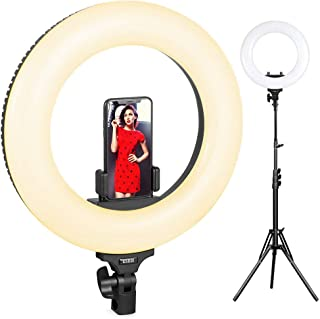 Ring Light,ESDDI LED 18inch Selfie Ring Light, Dimmable 3200K-5600K Adjustable Color Temperature with Light Stand, Phone Adapter, Soft Tube for Studio Lighting, YouTube Video, Vlog, Selfie, Portrait