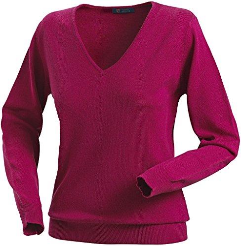 Royal Spencer Damen-Pullover mit V-Ausschnitt aus Kaschmir-Seide, Kaschmirpullover Beere/Pink, toller Winterpullover, angenehm zu tragen (Gr: S - XL)