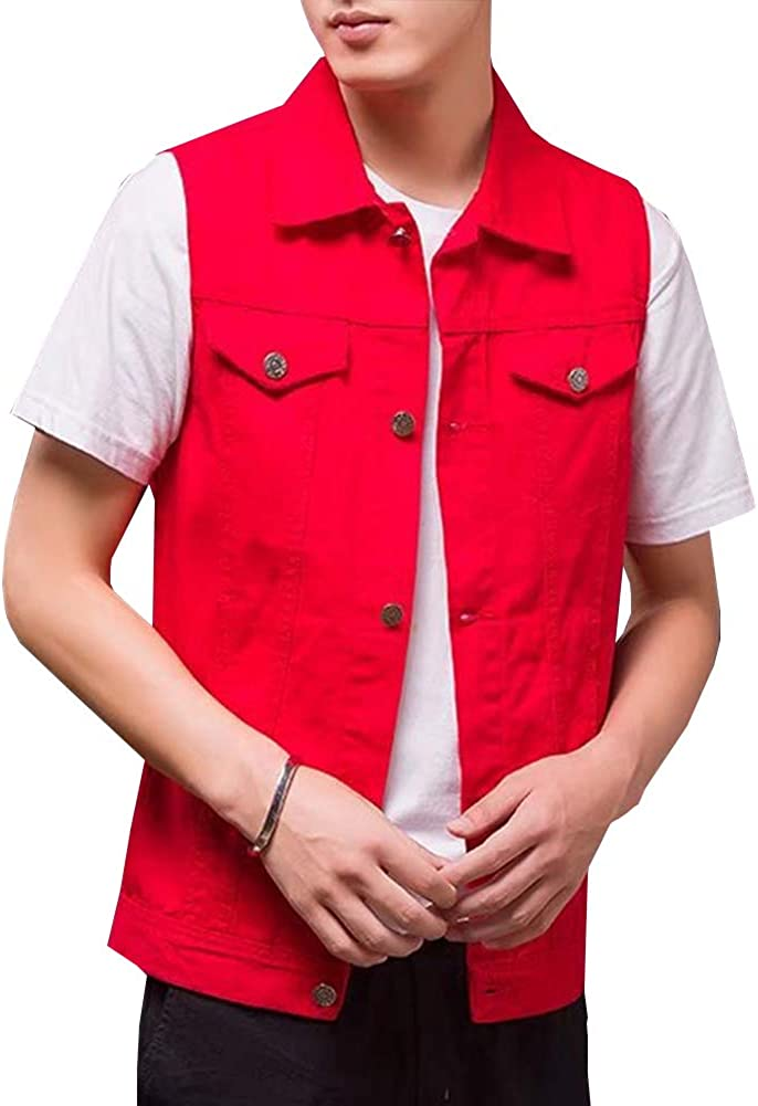 Kedera Men's Sleeveless Denim Vest Button-Down Trucker Jean Jacket