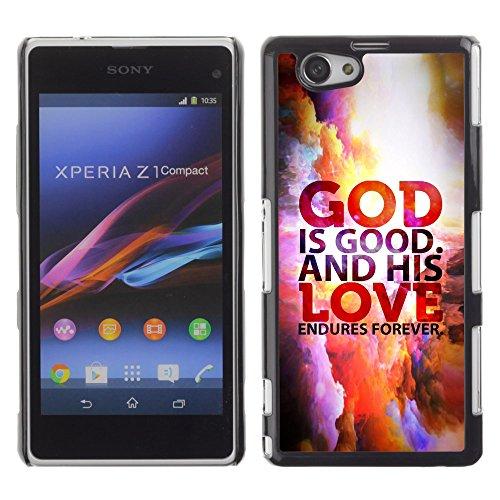 DREAMCASE Bibelzitate Bild Hart Handy Schutzhülle Schutz Schale Case Cover Etui für Sony Xperia Z1 Compact D5503 - Gott ist gut und Seine Gute wahret ewiglich