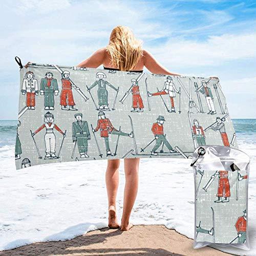 Toalla de Playa 27.5 'X 55',Esquí de Dibujos Animados Arena Ultra Suave Microfibra Portátil Absorbente de Agua Microfibra múltiple Sin Arena Toalla de Playa Manta