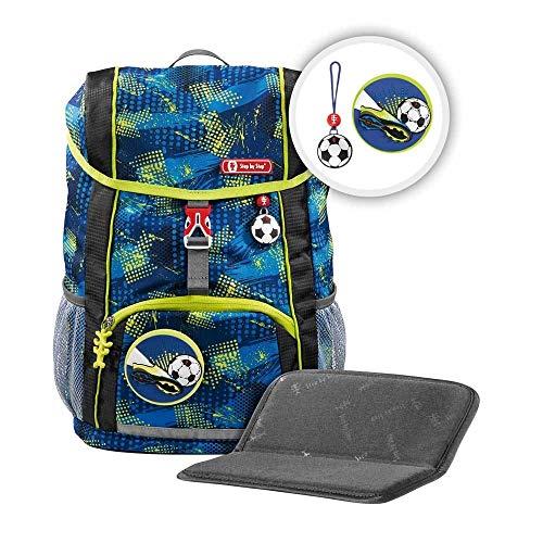 """Step by Step Rucksack-Set Kid """"Soccer Team"""", blau, mit Sitzkissen, ergonomischer Mini-Ranzen mit abnehmbarem Brustgurt, für Kindergarten, Vorschule und Freizeit, 13 l"""