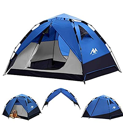 Pop Up Tents for Camping 3-4 Person Automatic Setup - AYAMAYA [2 in 1 Design] Double Layer Waterproof Instant Popup Tent - [2 Doors] Quick Easy Set Up Family Tent Shelter Christmas Outdoor Gifts