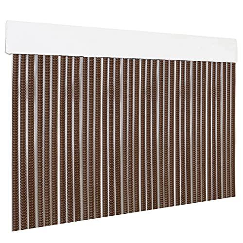 HOME MERCURY – Cortina plana para puerta exterior o interior, material PVC – libre de insectos (210x90CM, Marron+Filo Transparente P13)