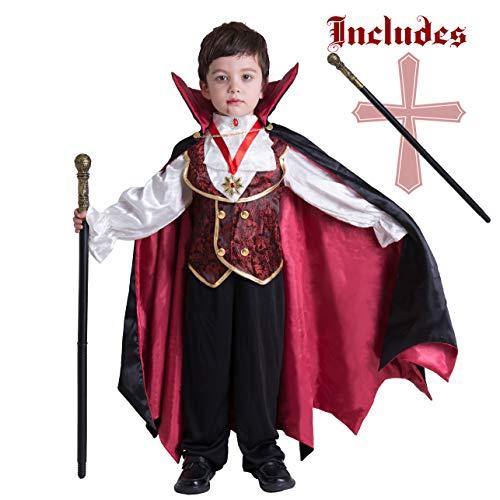 Spooktacular Creations Gotisch Vampir Kostüm, Vampirkostüm Deluxe Set für Kinder Jungen, Kinder Halloween Party, Dress Up, Rollenspiele und Cosplay (Toddler, Black)