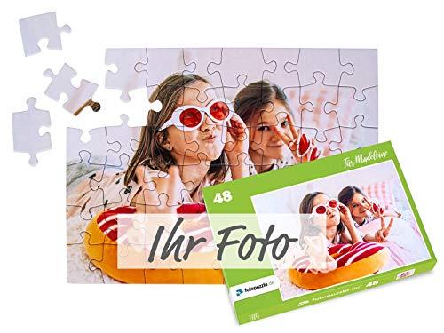 fotopuzzle.de Foto-Puzzle selbst gestalten - Puzzle 48 bis 2000 Teile mit eigenem Bild erstellen - Puzzle individuell Bedrucken Lassen - inkl. Geschenk-Schachtel mit Text - 48 Teile grüne Schachtel