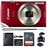 Canon Powershot Ixus 185 / ELPH 180 20MP Compact Digital Camera Red with 16GB Memory Card