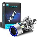 Lampadina per faro H4 HS1 LED per moto con faro a LED alto / basso con occhio di angelo bl...