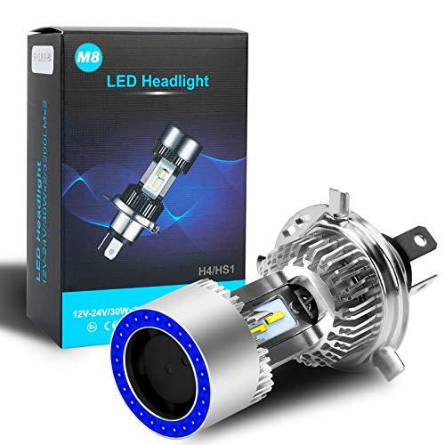 Lampadina per faro H4 HS1 LED per moto con faro a LED alto / basso con occhio di angelo blu 12-24V 2500LM 6000K