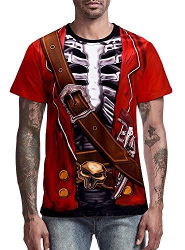 COSAVOROCK Disfraz de Pirata Esqueleto para Hombre Camiseta Rojo XL
