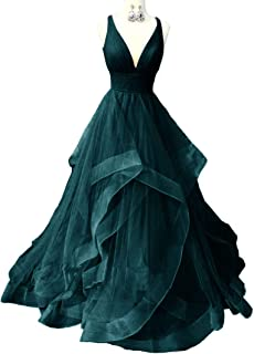 Jonlyc Deep V-Neck Sleeveless Tulle Prom Dress Evening Gowns with Open Back