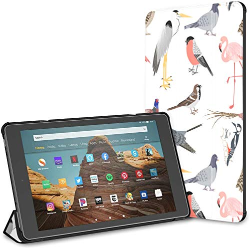 Case for All-New Amazon Fire Hd 10 Tablet (7th and 9th Generation,2017/2019 Release),Slim Folding Stand Cover with Auto Wake/Sleep for 10.1 Inch Tablet, Realistic Birds Sealess Patern Barn Owl
