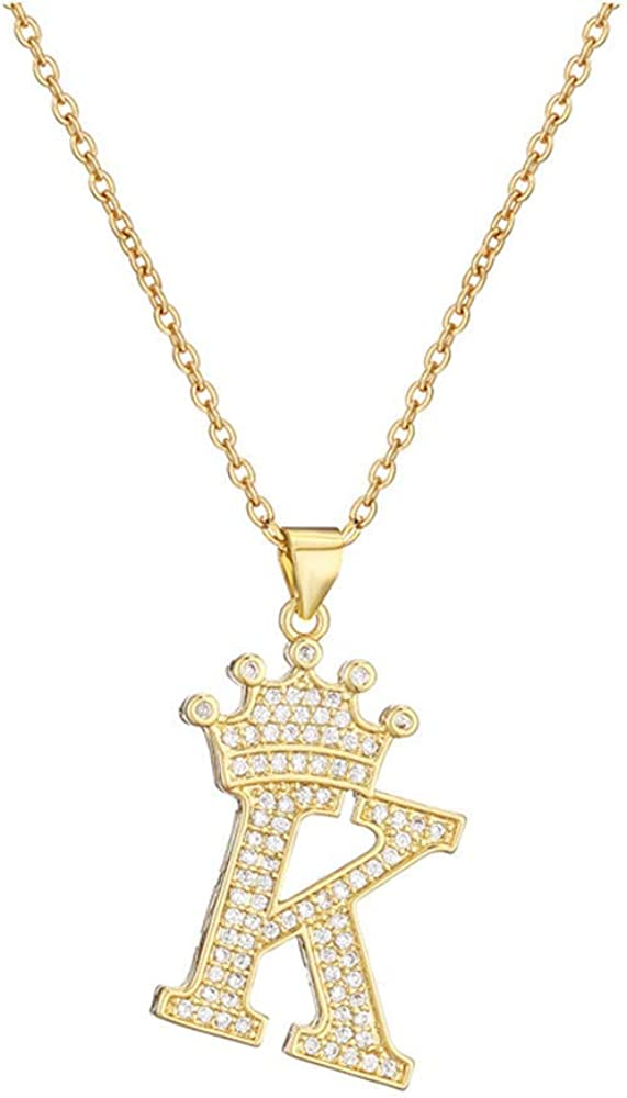 cmoonry A-Z Crown Initial Necklace for Men Women 14K Gold Plated Iced Out Monogram Pendant with 18