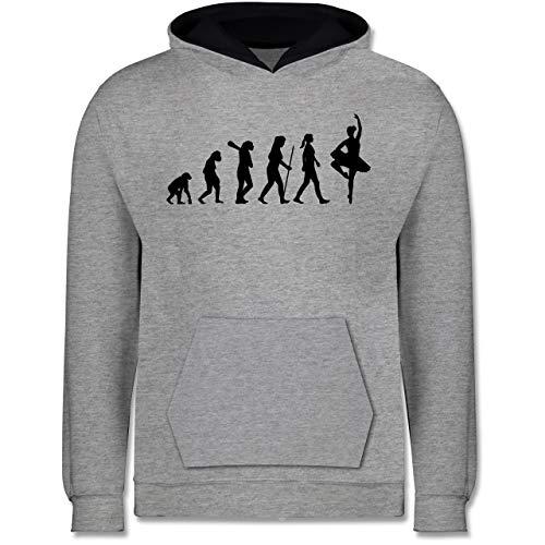 Shirtracer Evolution Kind - Ballett Evolution - 140 (9/11 Jahre) - Grau meliert/Navy Blau - Mann - JH003K - Kinder Kontrast Hoodie