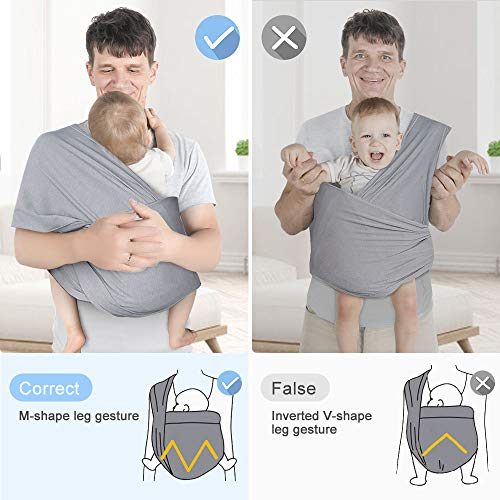 Lictin Baby Wrap Carrier Adjustable Breastfeeding Cover Cotton Sling Baby Carrier for Infants up to 35 lbs/16kg, Soft and Comfortable (Dark Gray)