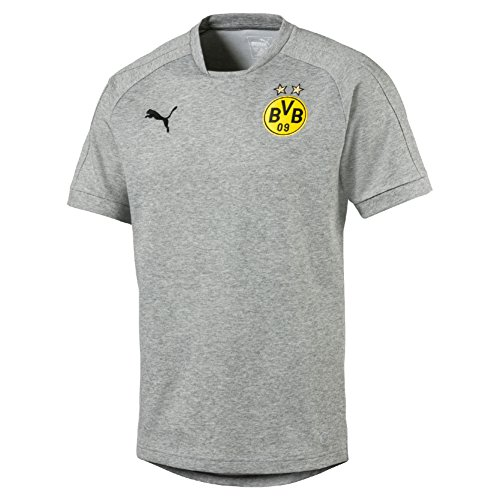 PUMA Herren BVB Casual Tee Without Sponsor Logo Trainingsshirt, Medium Gray Heather, L