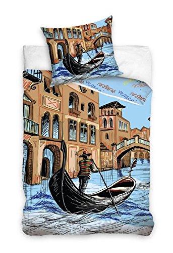 Venise Linge de lit Housse de Couette 160x200 + TAIE 70x80 Idée Déco 100% Coton, Nouveauté Collection Tableau gondole à Venise
