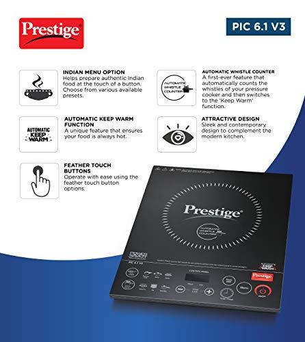 Prestige Induction Cooktop Pic 6.1 V3 2200 Watts - Black
