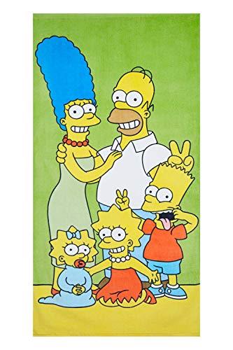 The Simpsons Handtuch Strandtuch Bild Familie Simpson mit grünen Hintergrund für Kinder 70 x 140 cm, 100% Baumwolle