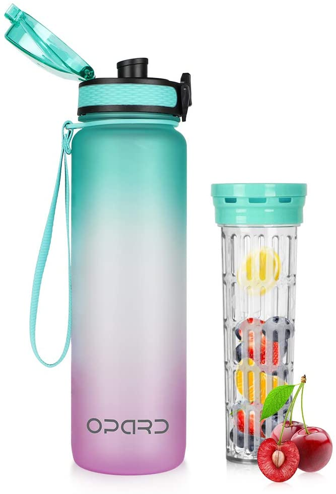 Opard 32oz Sports Water Bottle with Motivational Time Marker to Drink, Reusable BPA Free Tritan with Filter for Gym and Outdoor