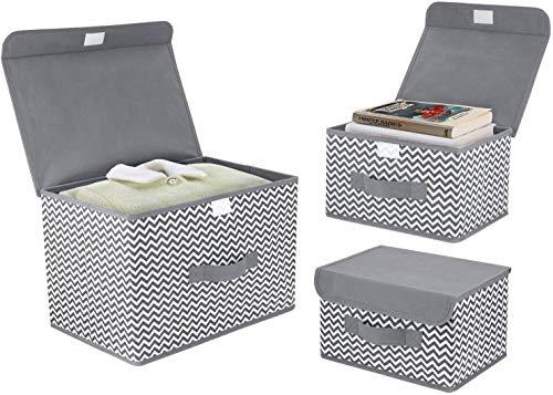 DIMJ 3 Stück Aufbewahrungsboxen mit Deckel und Griff, Faltbarer Cube Aufbewahrungskorb Ordnungsystem für Kleiderschrank, Kleidung, Bücher, Kosmetik, Spielzeug (Hellgrau)