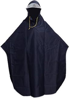 Poncho impermeable para hombre y mujer, con capucha, resistente al viento, impermeable, cubierta para patinete al aire libre, camping, tienda de campaña, con tapa transparente (azul marino)