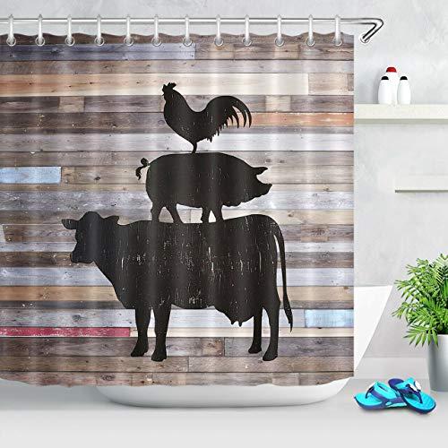 123456789 Kuhschwein Huhn Schatten Rustikal Holzbrett Tier Duschvorhang Badezimmer Dekor