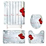Christmas Bath Mats Set,4 Pieces Merry Christmas Shower Curtain Sets with Non-Slip Rug, Toilet Lid Cover and Bath Mat, Christmas Tree Printed Shower Curtain Set for Christmas Decoration (C)