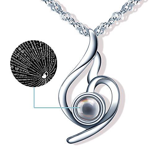 Yumilok Kette Damen Halskette 100 Sprachen Ich Liebe Dich Hochzeits 925 Sterling Silber mit Anhänger Geschenk für Mama Frau Freundin