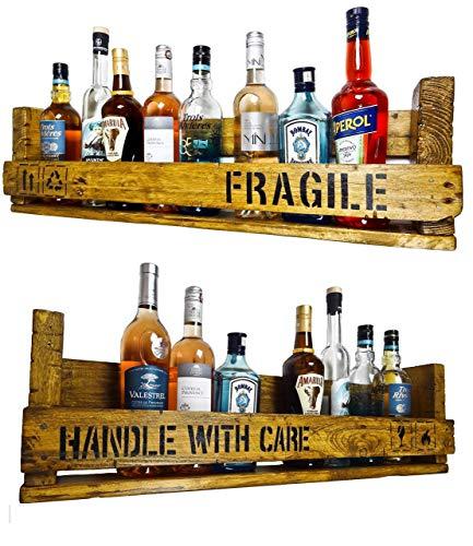 SHaBBY ViNTaGe PaLeTTeNReGaL Doppelpack (HxLxT: 23x8ox8,5cm) im Frachtkisten Style aus Echtholz ideal als Weinregal oder Wandbar