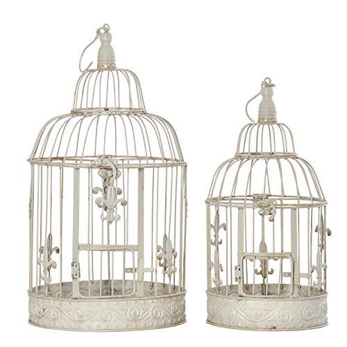 Moritz Jaula de pájaros decorativa vintage, color blanco, juego de jaulas de estilo antiguo, jaula nostálgico, estilo rústico, planta