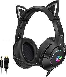 Auriculares estéreo para juegos con micrófono para PS4, PS5, Xbox One, PC, teléfono móvil, auriculares con orejas de gato desmontables con luz LED RGB para mujeres, autoajustables, ligeros
