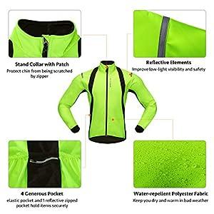 Movaty Chaquetas para Hombre,Chaqueta Ciclismo,Resistente a la Lluvia Prueba de Salpicaduras térmica de Alta Visibilidad Silver Reflectante,M/L/XL/XXL para los Hombres,Ciclismo de MTB Bici,Verde