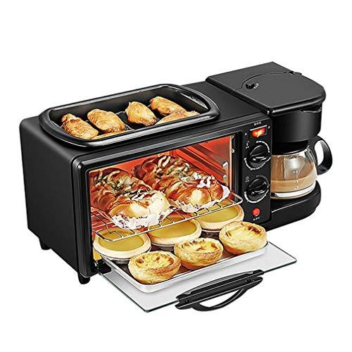Máquina de desayuno, cafetera 3 en 1, máquina para hornear y freír, control de temperatura programable, horno tostador, hornear, parrilla, asar al vapor