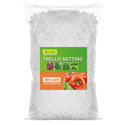 WUJUN Plant Support Hydroponic Trellis Netting Grow Tents 5Ft x 15Ft, Heavy-Duty Polyester Garden Plant Climbing Net Soft Mesh Twine