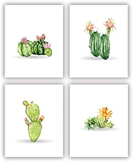 Cactus Wall Print Green Plant Painting Botanical Art Flower Wall Picture Contemporary Room Decor Set of 4 Unframed 8x10 Inch