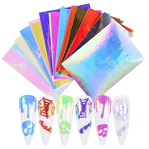 16 cores Lottomr Nail Art Stickers Adesivos teia de aranha e crânios de morcego para Halloween Decalques de unha DIY