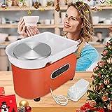 HUKOER Orange Electric Pottery Wheel Machine, 350W 25CM LCD Touch Ceramic Herramienta de arcilla para bricolaje, con 11 piezas de Clay Set de lavabo de agua ABS extraíble