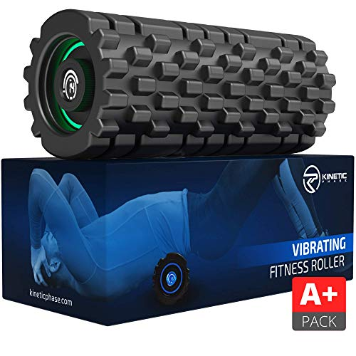 Kinetic Phase 8-Speed Vibrating Foam Roller Active Pack - High Intensity Vibration for Sports Recovery, Fitness, Deep Tissue Trigger Point Massage Therapy - High-Density Vibranting Back Massager