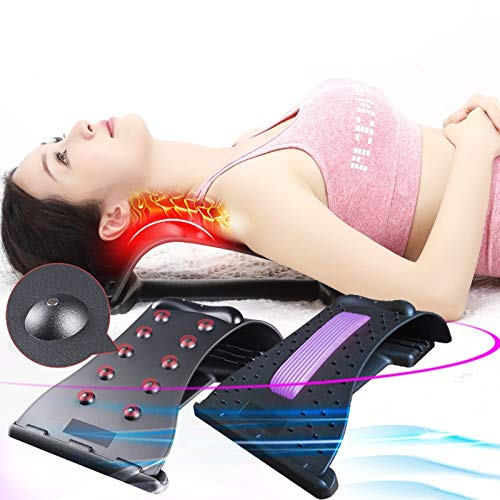 Chnzyr Magic Back Stretcher and Massagers, Magnet Therapy Back Support Device with Magnetic Beads, 3 Stage Posture Corrector for Fitness, Lumbar Support Relaxation,Black Purple