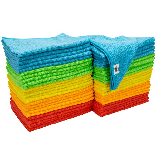 S&T INC. Microfiber Cleaning Cloths, 12in. x 16in. Reusable and Lint-Free Towels for Home, Kitchen and Auto, 50 Pack, Assorted