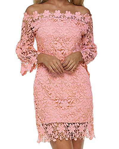 Auxo Damen Schulterfreie Langarm Kleider mit Spitze Elegant Blumen Kurz Abend Etuikleid Lachs rosa EU 36/Etikettgröße S