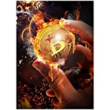 Bruciare Bitcoin Dipinti Su Tela Poster E Stampe Stile Nordico Moderna Pittura A Olio Immagine Della Parete Per Soggiorno Complementi Arredo Casa-60x90 cm x1 Senza Cornice