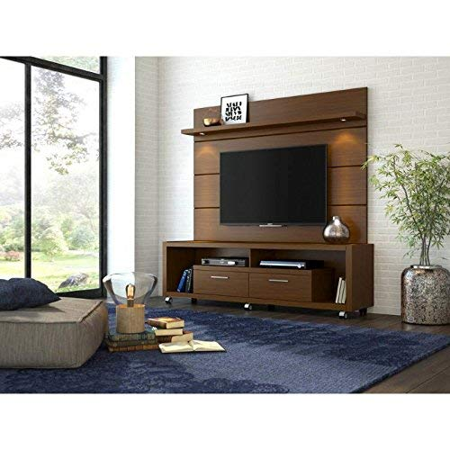 Manhattan Comfort Cabrini 1 8 Panel Collection Floating Wall Tv Panel Tv Wall Mount With Shelf 71 25 L X 8 46 D X 94 35 H Nut Brown Buy Online In Brunei At Brunei Desertcart Com Productid