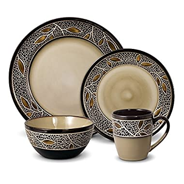 Gourmet Basics Alexandria 16 Piece Dinnerware Set, Service for 4, Brown