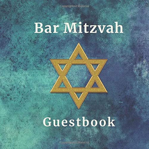 Bar Mitzvah Guestbook: 8.5' x 8.5' (21.95cm x 21.95cm) 110 Pages, Milestone Keepsake Memory Book with Guest Messages & Gift Listing - Blue Abstract Design (Jewish Celebrations)