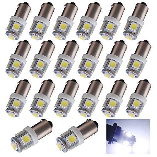 EverBrightt 20-Pack White BA9S 5050 5SMD Led License Plate Light Bulb For Car Replacement Lights Door Light 12V