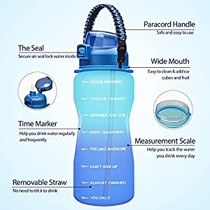 Giotto Large Half Gallon/64OZ Motivational Water Bottle with Paracord Handle & Removable Straw - Leakproof Tritan BPA Free Fitness Sports Water Jug with Time Marker-Blue/Purple Gradient Gradient