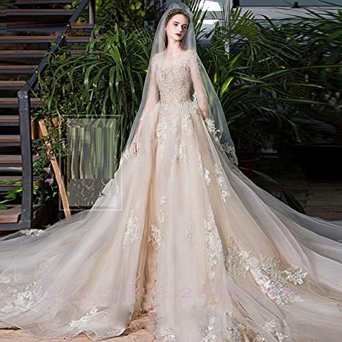 SWEETQT Robe de mariée Chic Organza Robes de mariée exquise Broderie Appliques o-Cou 2 en 1 Train détachable Personnaliser Robe de soirée